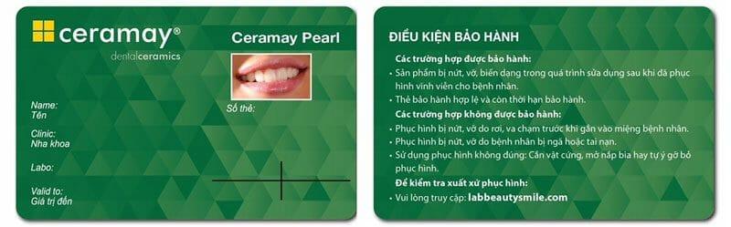 Bảo hành răng sứ Ceramay